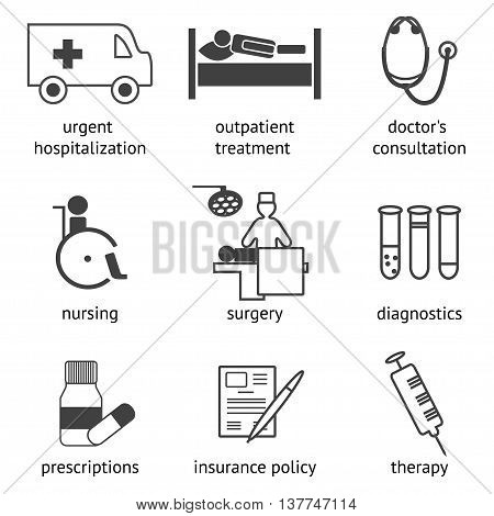 Set of hospital and treatment related icons