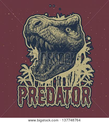 Trex Dinosaur Vector hand drawn background.