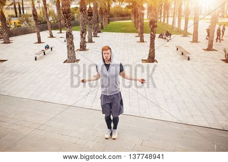 Man Skipping On The Jump Rope