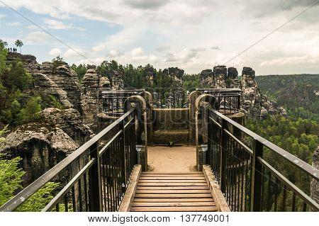 Bastei Bridge In Saxon Switzerland In Summer