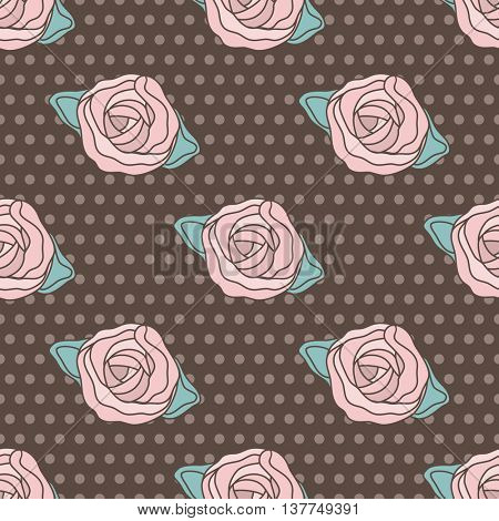 Vintage vector patterns with climbing roses on brown and white polka dot background. Seamless floral background for textile, cards, web, scrapbooking, baby shower and birthday design
