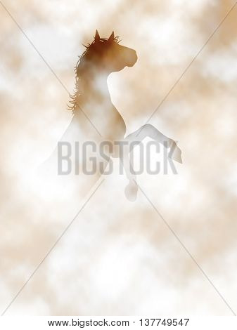 Editable vector illustration of a horse rearing in a misty or smoky atmosphere created using gradient meshes