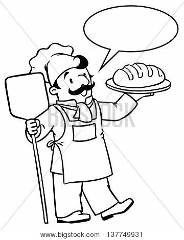 Coloring picture or coloring book of funny cook or chef or baker with bread. Profession series. Children vector illustration. With balloon for text.