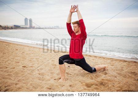 Man Training Yoga