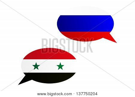 Conversation Bubbles Between Russia And Syria