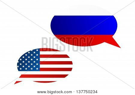 Conversation Bubbles Between Russia And Usa