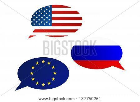 Conversation Bubbles Between Usa, Eu And Russia