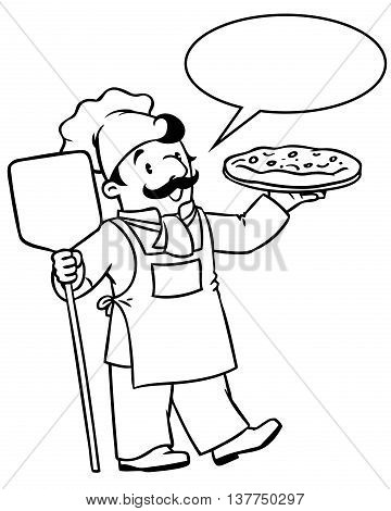 Coloring picture or coloring book of funny cook or chef or baker. Profession series. Children vector illustration. With balloon for text.