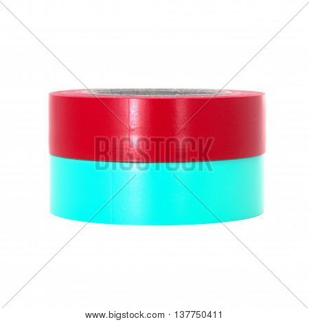 Protecting red cyan insulating tape rolls isolated on white background