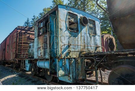 A closeup shot of an old derelict train.