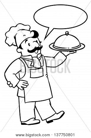 Coloring picture or coloring book of funny cook or chef with tray. Profession series. Children vector illustration. With balloon for text