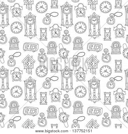 Seamless Pattern With Doodle Watches And Clocks.