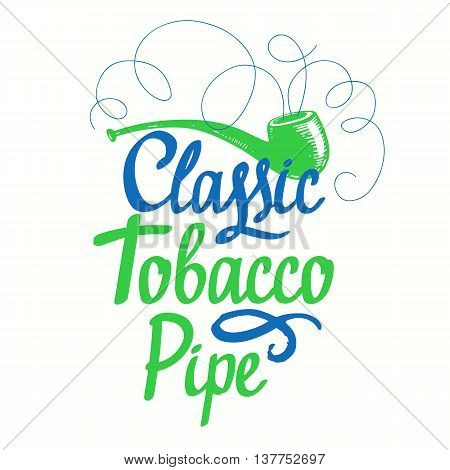 Vector Illustration With Tobacco Pipe. Classical Smoking.