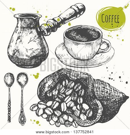 Set of hand drawncup of coffee offee maker coffee beans. Black and white sketch of coffe.
