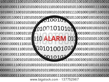 Binary Code With Alarm And Magnifying Lens