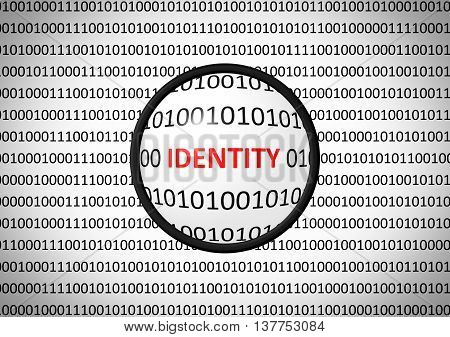 Binary Code With Identity And Magnifying Lens