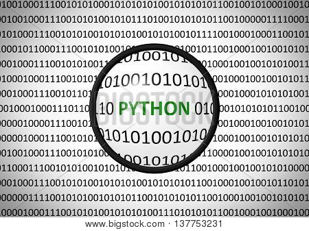 Binary Code With Python And Magnifying Lens