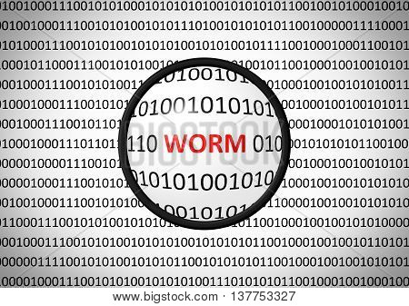 Binary Code With Worm And Magnifying Lens