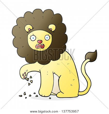 freehand drawn cartoon lion with thorn in foot
