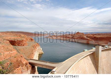 Glen Canyon Dam With Lake Powell,  Nevada, Usa