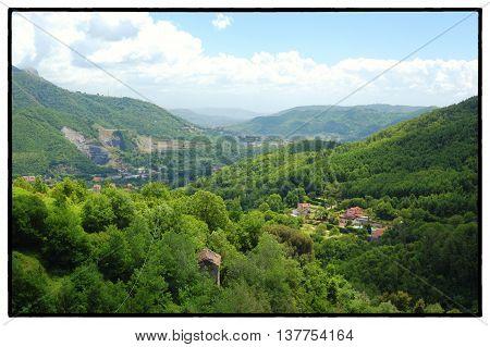 Pellezzano, Salerno Landscape of the little village of Coperchia from di Decimari Mountain  Campania, Italy May 2016