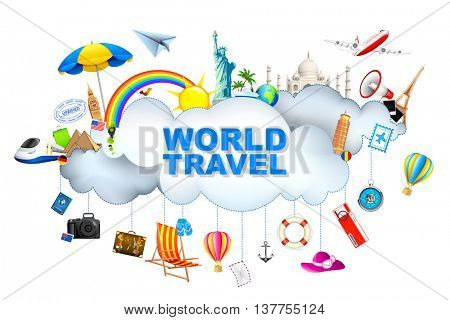 illustration of travel object with famous monument around cloud