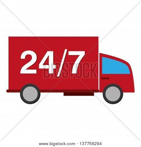 24 7 truck transport service isolated vector illustration