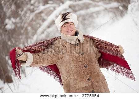 Woman With  Kerchief In Winter