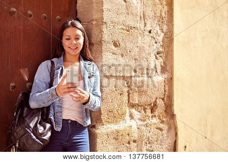 Cute Young Girl Reading A Message