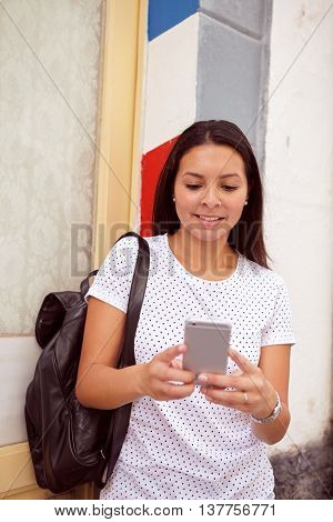 Pretty Happy Girl With Cell Phone