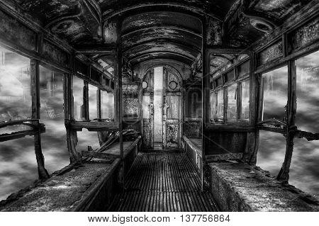 Old Broken Rotten Train In Foggy Scrap Yard