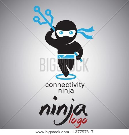 connectivety ninja  logo concept designed in a simple way so it can be use for multiple proposes like logo ,marks ,symbols or icons.