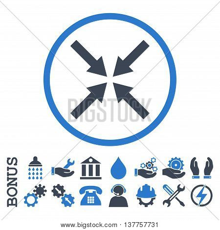 Center Arrows vector bicolor icon. Image style is a flat pictogram symbol inside a circle, smooth blue colors, white background. Bonus images are included.