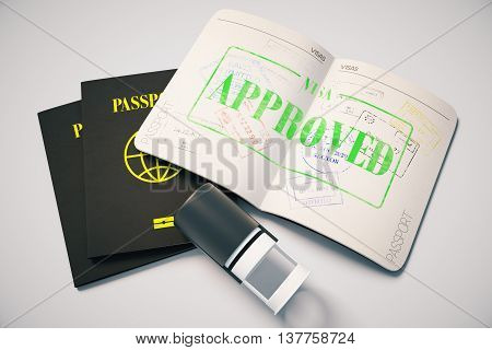 Passport with green approved visa stamp on grey background. Topview. Travel concept 3D Rendering