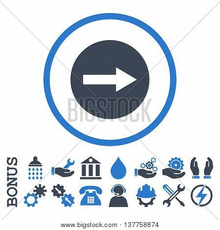 Right Rounded Arrow vector bicolor icon. Image style is a flat pictogram symbol inside a circle, smooth blue colors, white background. Bonus images are included.
