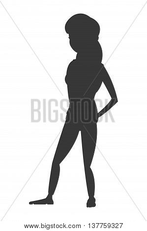 flat design woman with fitness outfit icon vector illustration silhouette