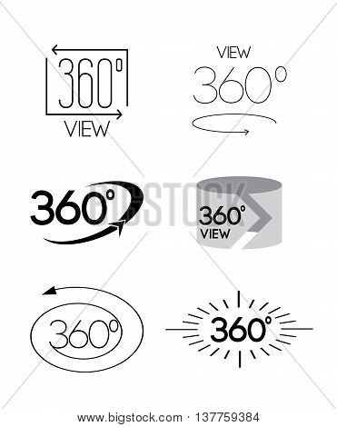 Simple Set of 360 Degree View Related Vector Icons.