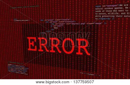 Web error alert red screen with code