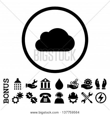 Cloud vector icon. Image style is a flat pictogram symbol inside a circle, black color, white background. Bonus images are included.