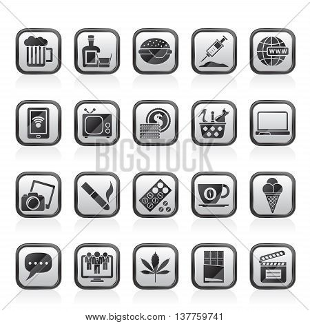 different types of Addictions icons - vector icon set
