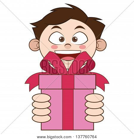 flat design boy holding gift icon vector illustration