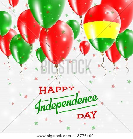 Bolivia Vector Patriotic Poster. Independence Day Placard With Bright Colorful Balloons Of Country N