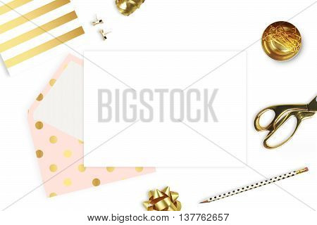 Stationery and envelope isolated on white background. Modern background. Mock-up for your photo or text and work. Woman desktop template card. Flat lay. Open envelope with blank