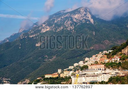 Magestic mountains and Amalfi coastline in Salerno Italy