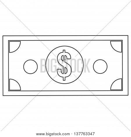 flat design dollar bill icon vector illustration