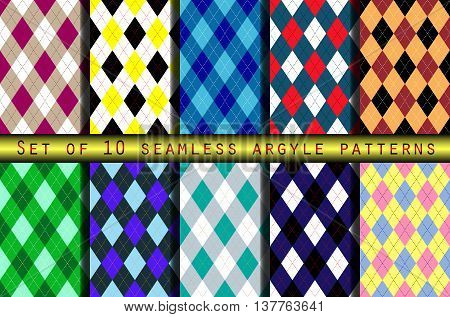 Set of ten seamless argyle pattern backgrounds. Classic diamond check textile prints for jerseys, sweaters, socks & golf/curling/basketball/cycling teams sports uniforms.