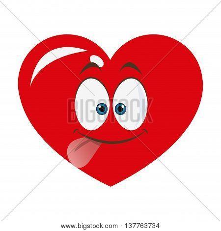 flat design goofy heart cartoon icon vector illustration