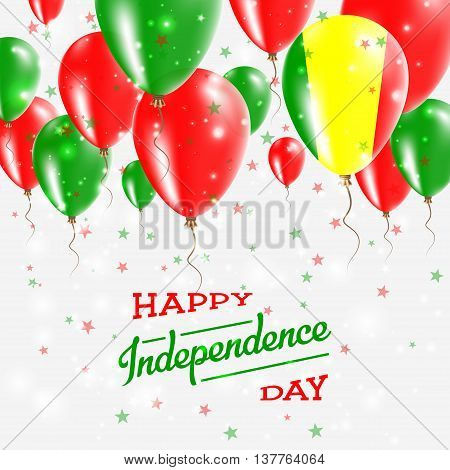 Mali Vector Patriotic Poster. Independence Day Placard With Bright Colorful Balloons Of Country Nati