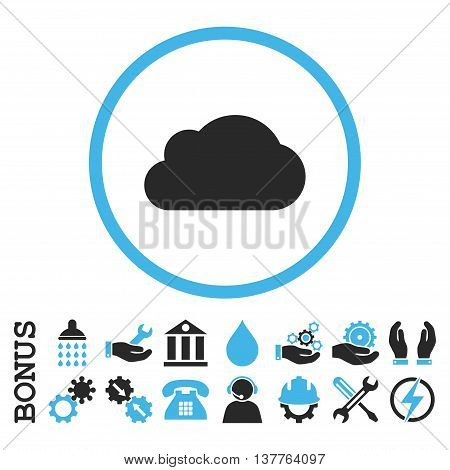 Cloud glyph bicolor icon. Image style is a flat pictogram symbol inside a circle, blue and gray colors, white background. Bonus images are included.