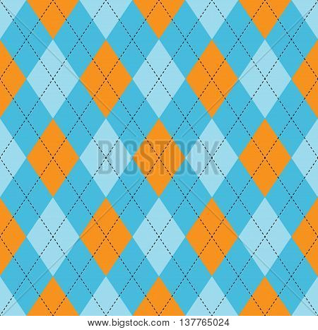 Seamless argyle pattern in pale blue, soft cyan & orange with black stitch. Traditional diamond pattern print for jerseys, sweaters, polo shirts, golf uniforms.